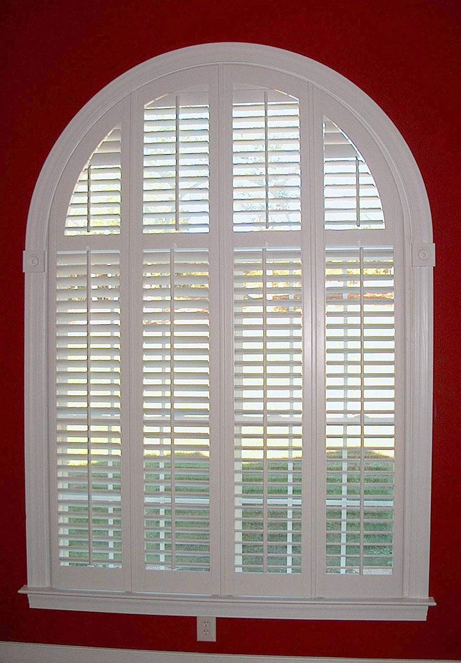 Paladian Window Four Panel with Horizontal Louvers in Half Round