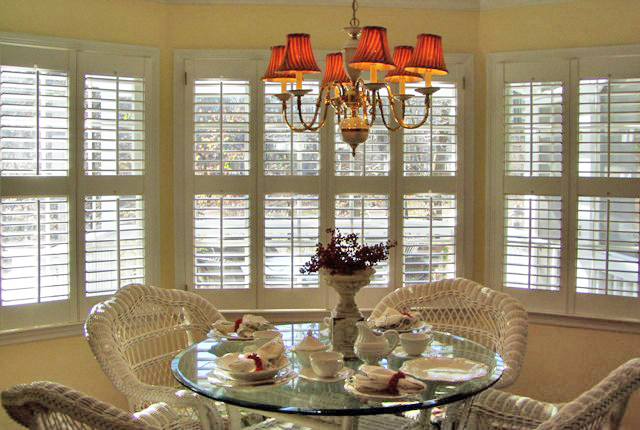 plantation shutters with open louvers