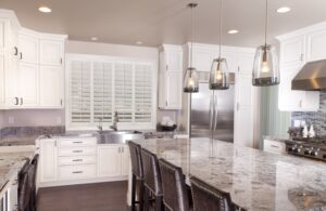 plantation shutters in kitchen